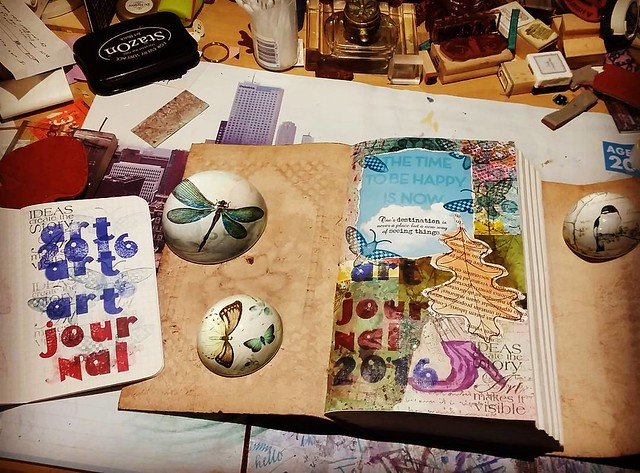 New year new crafty endeavors. I started a mixed media art journal. #artjournal #craftiness #mixedmediaartist #mixedmedia #journal #whatsonmydesk #creativemess #creativity #thetimetobehappyisnow #craftyendeavors #rubberstamped #collageart #artjournalMT