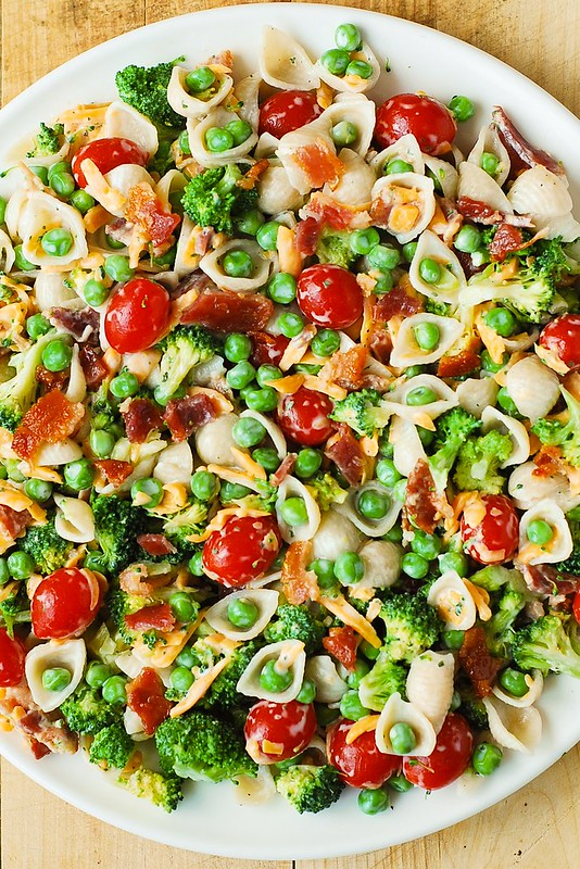 best pasta salad, easy pasta salad, pasta salad with broccoli peas and bacon