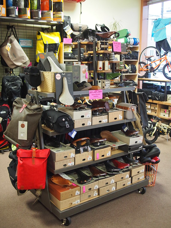 Brooks Saddles Galore!: The second shop we toured.  The timing was perfect, too, as a storm had just rolled in a few minutes before we'd arrived.