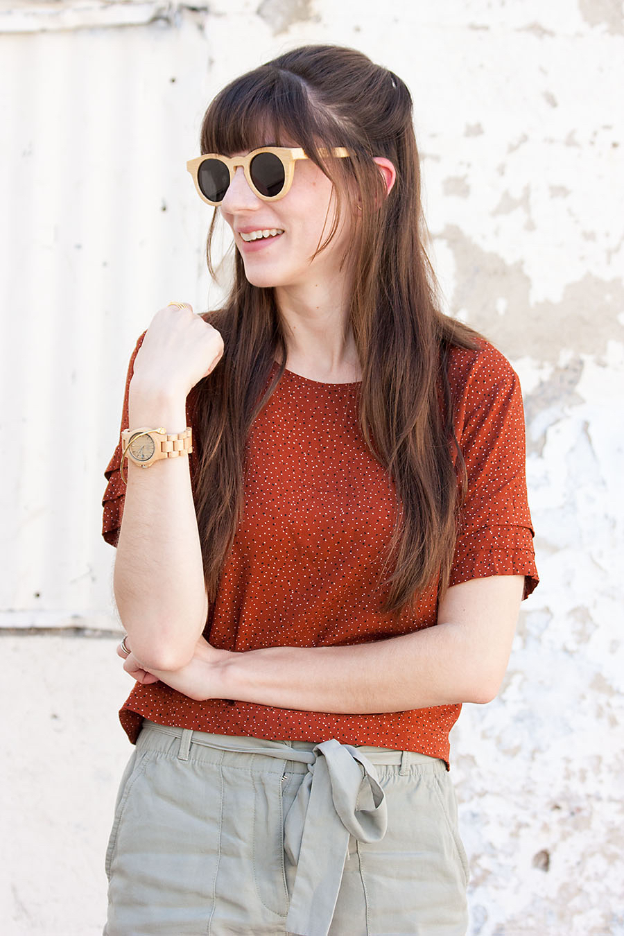 Dotted Crop Top, Paperbag Tie Waist Shorts, Wood Watch, Panda Sunglasses