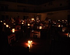 Our time at Isha Yoga has been fantastic so far, and bundles of fantastic experiences that will only about start sinking in :-)  The dining area was transformed today with candlelit awesomeness! Pre-Valentine spirit? :-)
