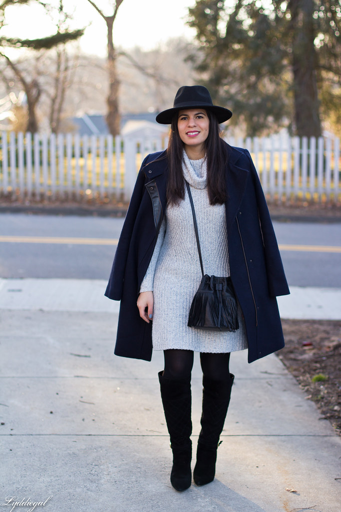 grey sweater dress, fringe bucket bag, wool hat, boots.jpg