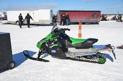 Snowmobile racing and show on Houghton Lake, Michigan