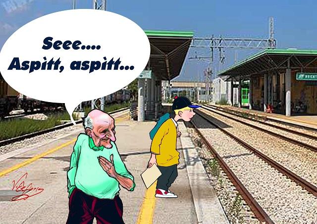 Noicattaro. Vignetta treni in ritardo intero