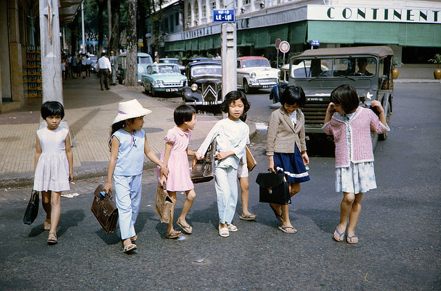 Vietnamese schoolchildren on the street near Hotel Continental Saigon South Vietnam 1965