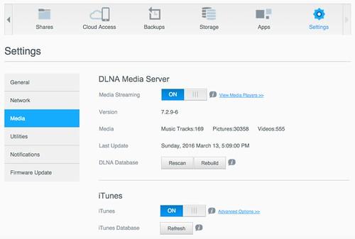 เป็น Media Server ผ่านทาง DLNA หรือ iTunes Server ได้