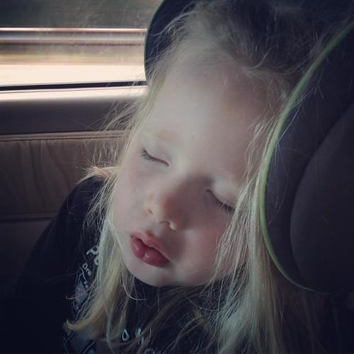 Homeward bound: Lala napping sans thumb. 😍😴👼