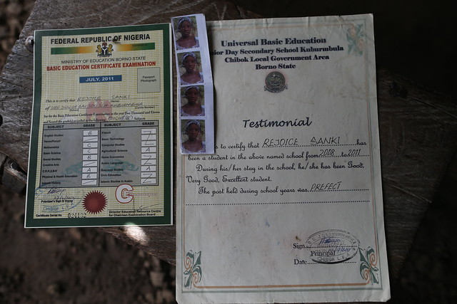 "Certificates belonging to Rejoice Sanki<br /> <br /> Unlike many other parents whose daughters were abducted from GGSS, Chibok in April 2014, Mary Sanki has never had the opportunity to visit the scene of the kidnapping or to attend meetings where the parents discuss what to do next in their efforts to find their children. <br /> <br /> She has never had the opportunity to speak with journalists or with the outside world about her daughter, Rejoice. Mary Sanki is blind. <br /> <br /> ""I am very happy with this visit,"" she said. ""Your visit has given me comfort. I have not had anyone come to tell me or ask me anything about my daughter."" <br /> <br /> Mary remembers her daughter's beautiful voice from when she used to sing Christian songs.<br /> <br /> ""When I think of the music she used to sing, when I hear other people singing those songs, I remember my daughter,"" she said."