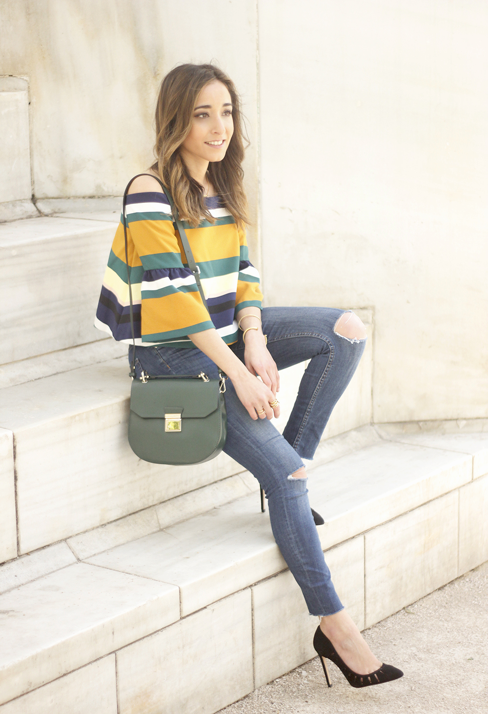 Off The Shoulder Top with stripes jeans heels accessories bag aristocrazy13