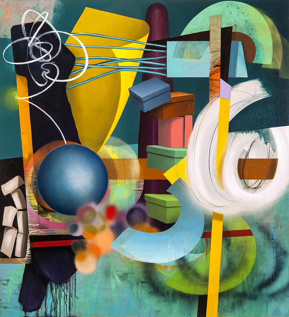 "The Nature of Things #6, 2015, 46"" x 42"", oil and spray paint on canvas"