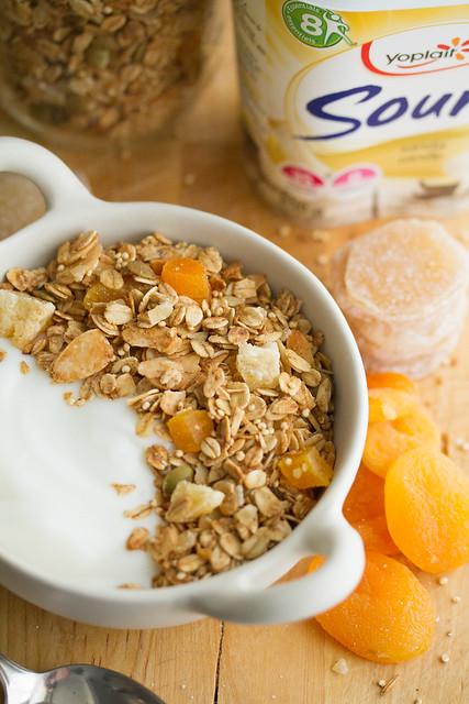 Ginger-Almond Granola with Vanilla Yogurt