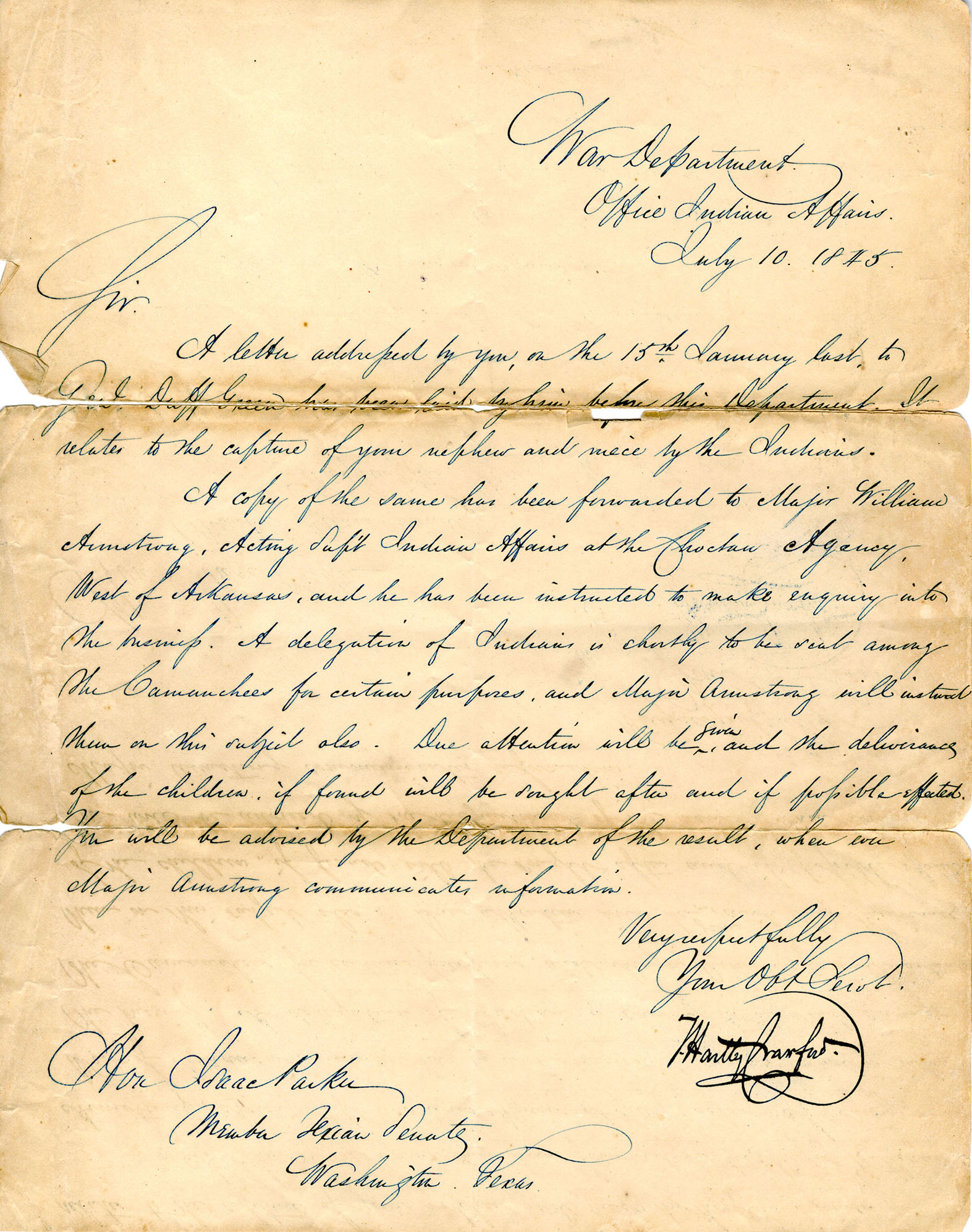 U.S. War Department Letter to Isaac Parker, 1845 (Cynthia Ann Parker)