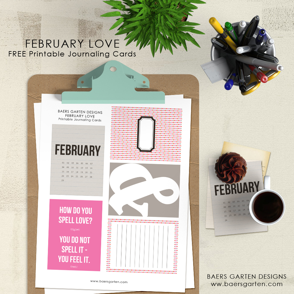 February Love Journaling Cards Freebie