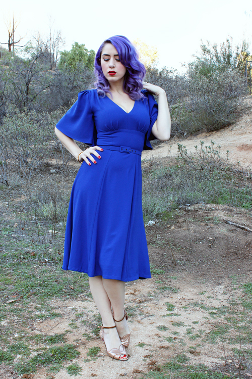 Pinup Girl Clothing Laura Byrnes California Viva Dress in Blue Crepe