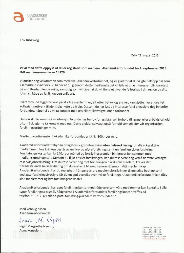 brev fra akademikerforbundet fra 2013 med medlemsnummer