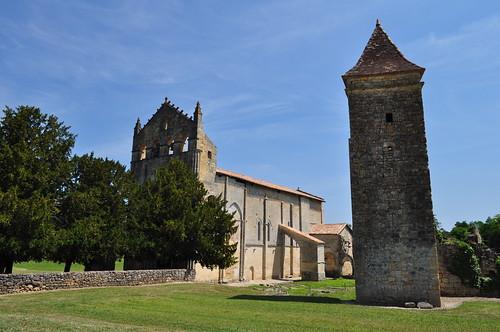 Vue générale, ancienne abbaye Saint Maurice (XIIe, XIIIe), Blasimon, Entre-Deux-Mers, Guyenne, Gironde, Aquitaine, France.