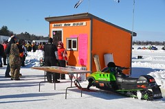 Registration shed -- Snowmobile racing and show on Houghton Lake, Michigan