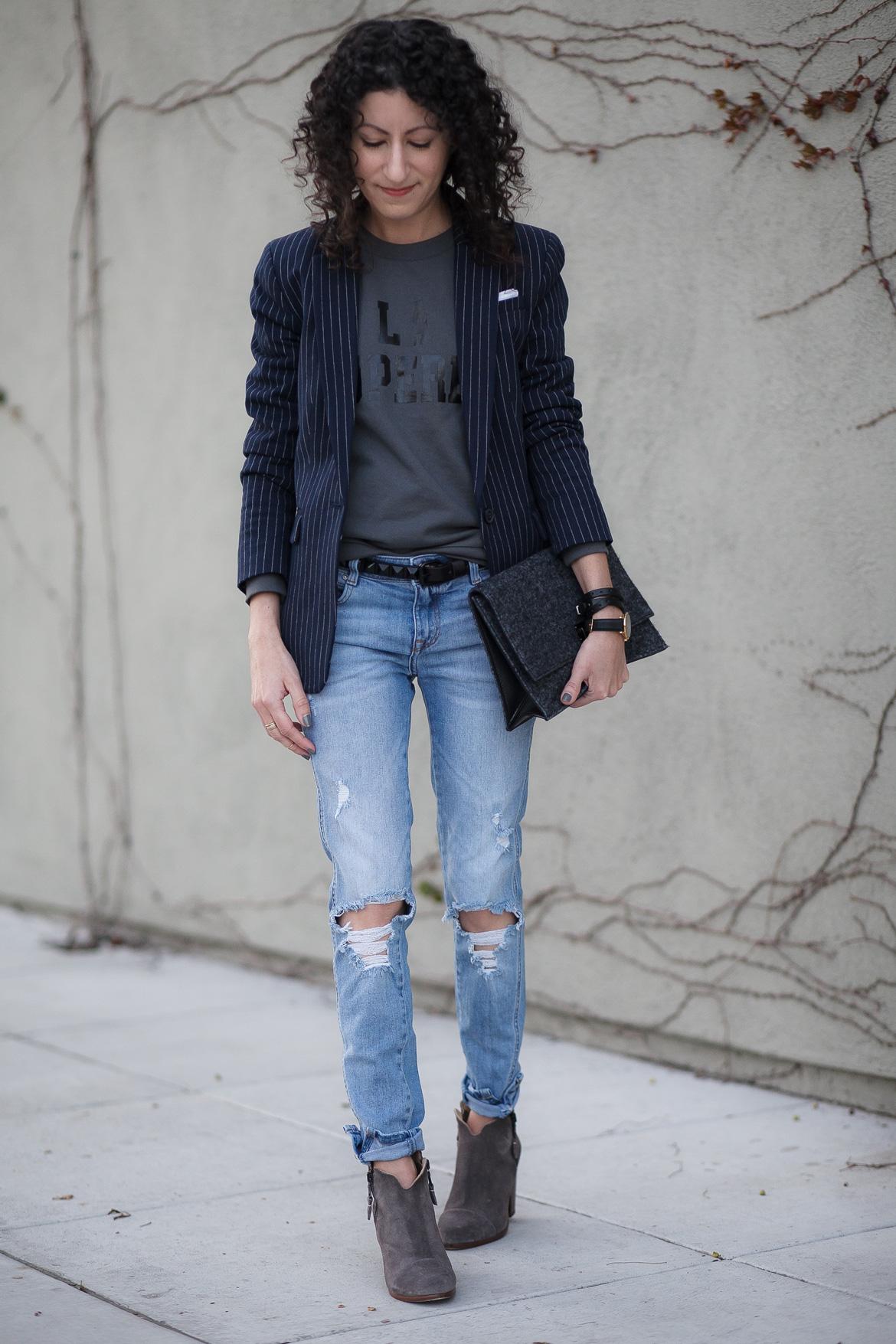 How to wear a pinstripe blazer.