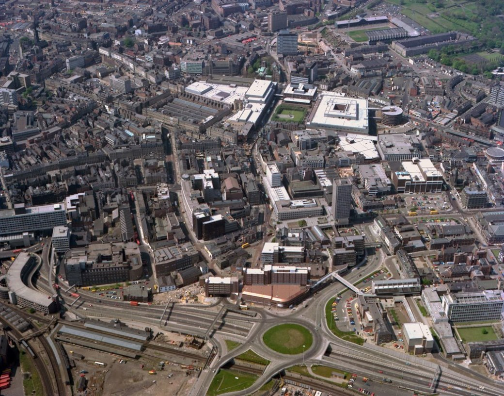 Looking west across Newcastle City Centre, 1977