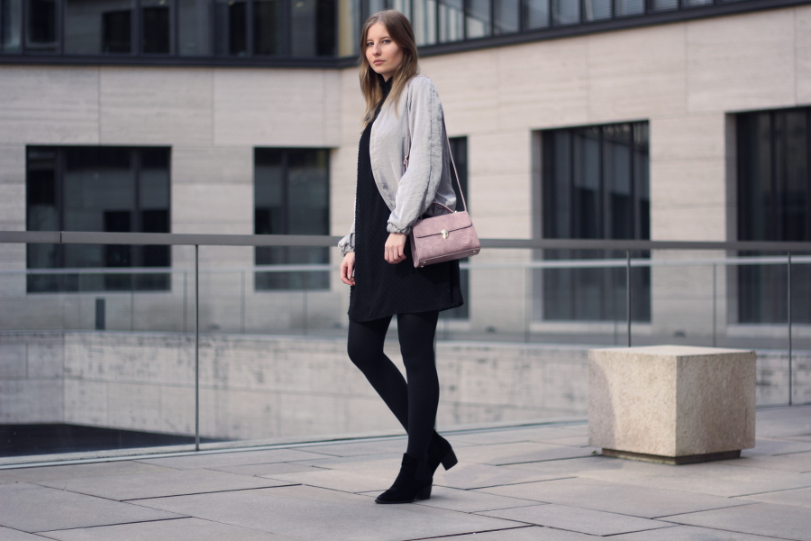 outfit dress bomber mini bag crossbody silver pink black zara asos frankfurt blogger