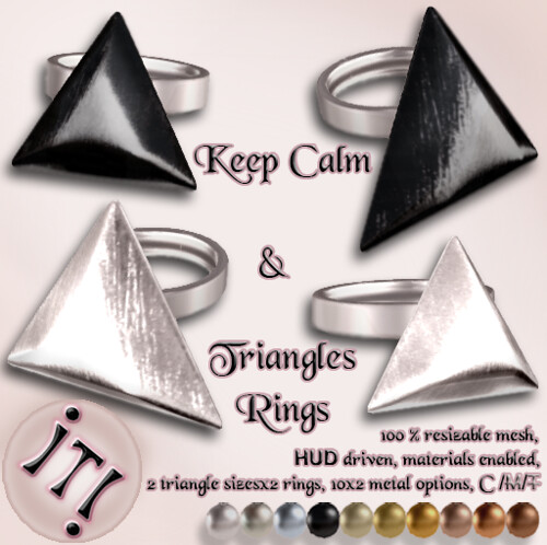 !IT! -  Keep Calm & Triangles Rings Image