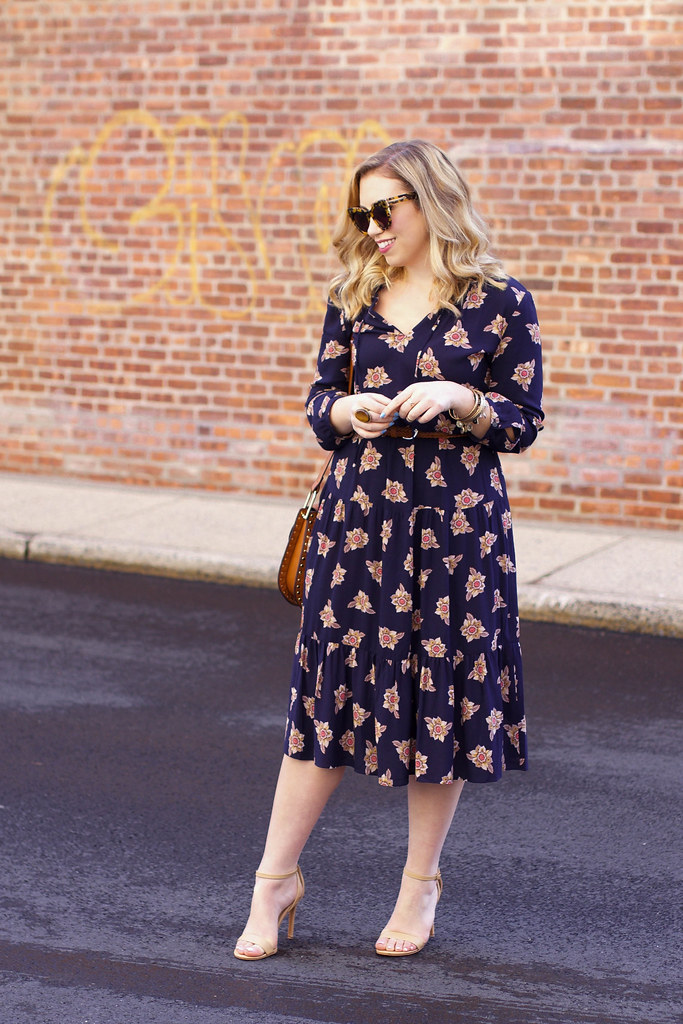 70s Inspired Boho Outfit | LOFT Faraway Floral Midi Dress | Spring Fashion on Living After Midnite by Jackie Giardina