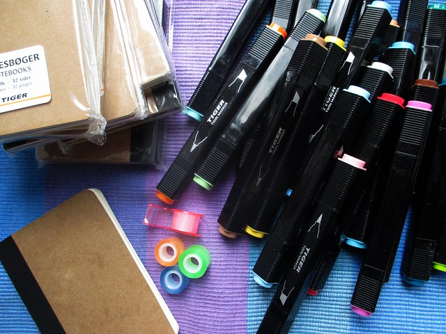 markers, tape, notebooks