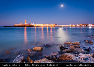 Oman - Sur - Full Moon and Al-Ayjah Lighthouse at Dusk - Blue Hour - Night - Twilight
