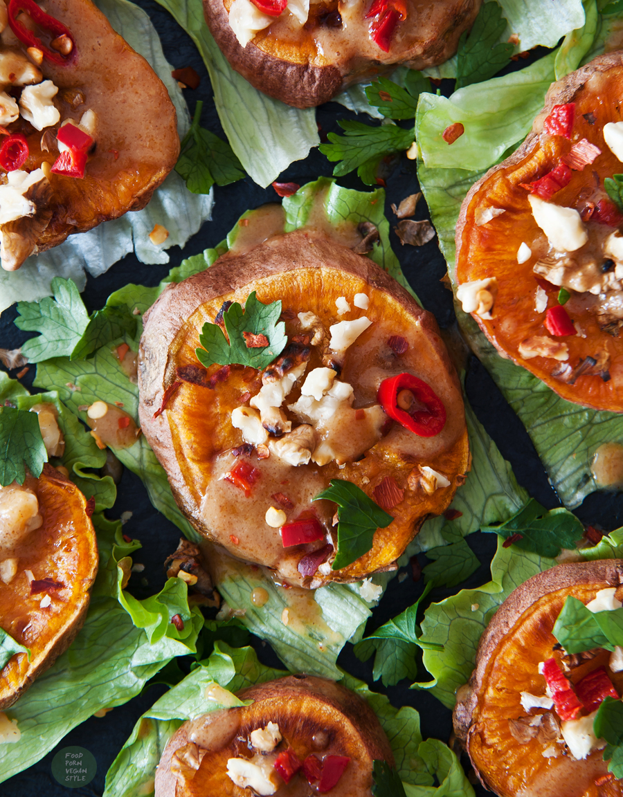 Baked sweet potato canapes with salty miso drizzle and crunchy walnut topping