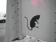 Rat stencil on John Frost Brug, Arnhem