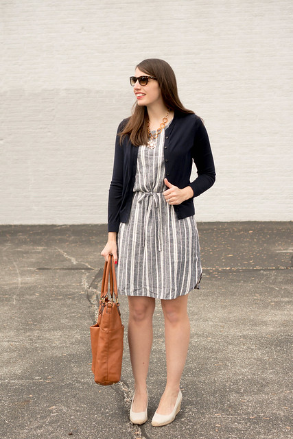 stripe Old Navy dress + navy Loft cardigan + Target espadrille wedges | Style On Target