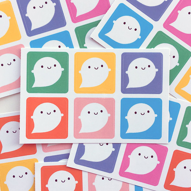 Colourful Little Ghost sticker sets are in my shop! You also get 2 free stickers if you pre-order my new ghost brooch.