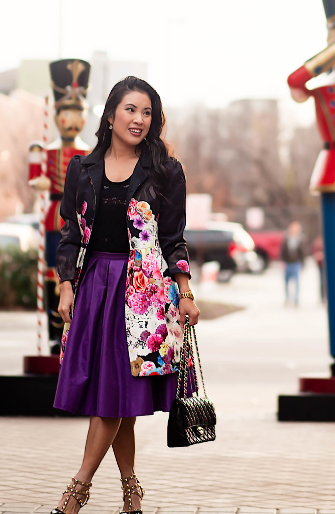 cute & little blog | petite fashion | black floral coat, black sequin top, purple midi skirt, black studded pumps | holiday party outfit