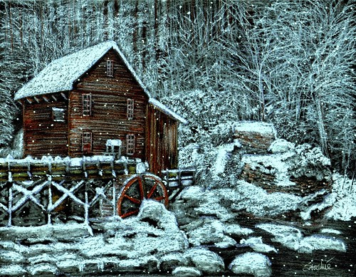 Glade Creek Mill in Winter