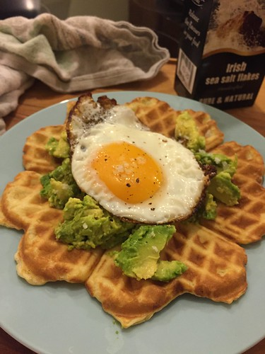 Waffles with Avocado and Fried Egg