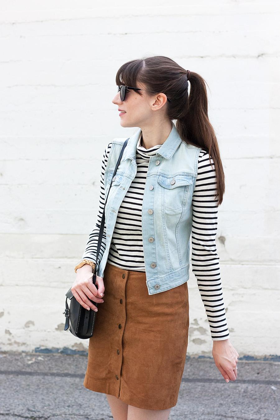 Striped Shirt, Suede Skirt