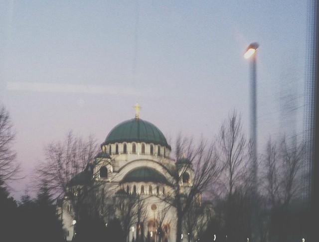 Saint Sava's church from the bus