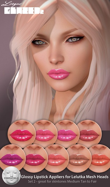 League Glazed Lipsticks for Lelutka Set 2