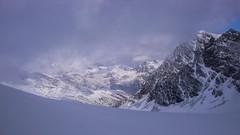 Widok na zachód z przełęczy Fuorcla Fez Scerscen 3092m. Po prawej szczyt Il Caputschin.3386m.