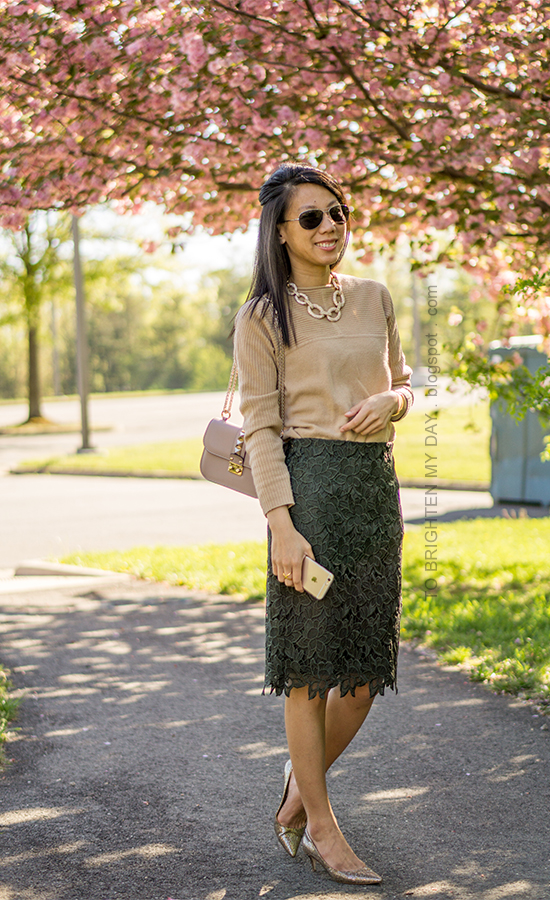 gold pave chain necklace, camel sweater, dark green lace pencil skirt, nude bag with studs, glitter pumps