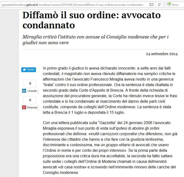 2014 Diffamo ordine Miraglia condannato