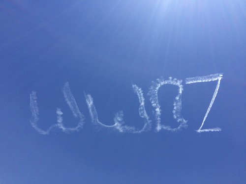 WWOZ skywriting above Jazz Fest 2016