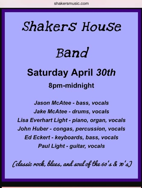 Shakers 4-30-16