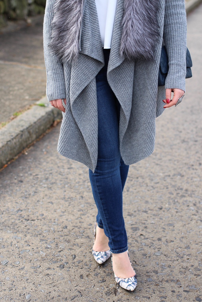 Bundled Up in Fur Trimmed Cardigan and Jeans | Casual Neutral Outfit
