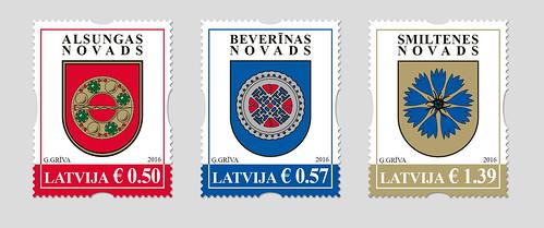 """Pastmarkas sērijā """"Latvijas novadu un pilsētu ģerboņi"""""""