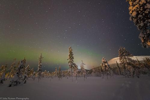 Faint Northern lights at Ylläs