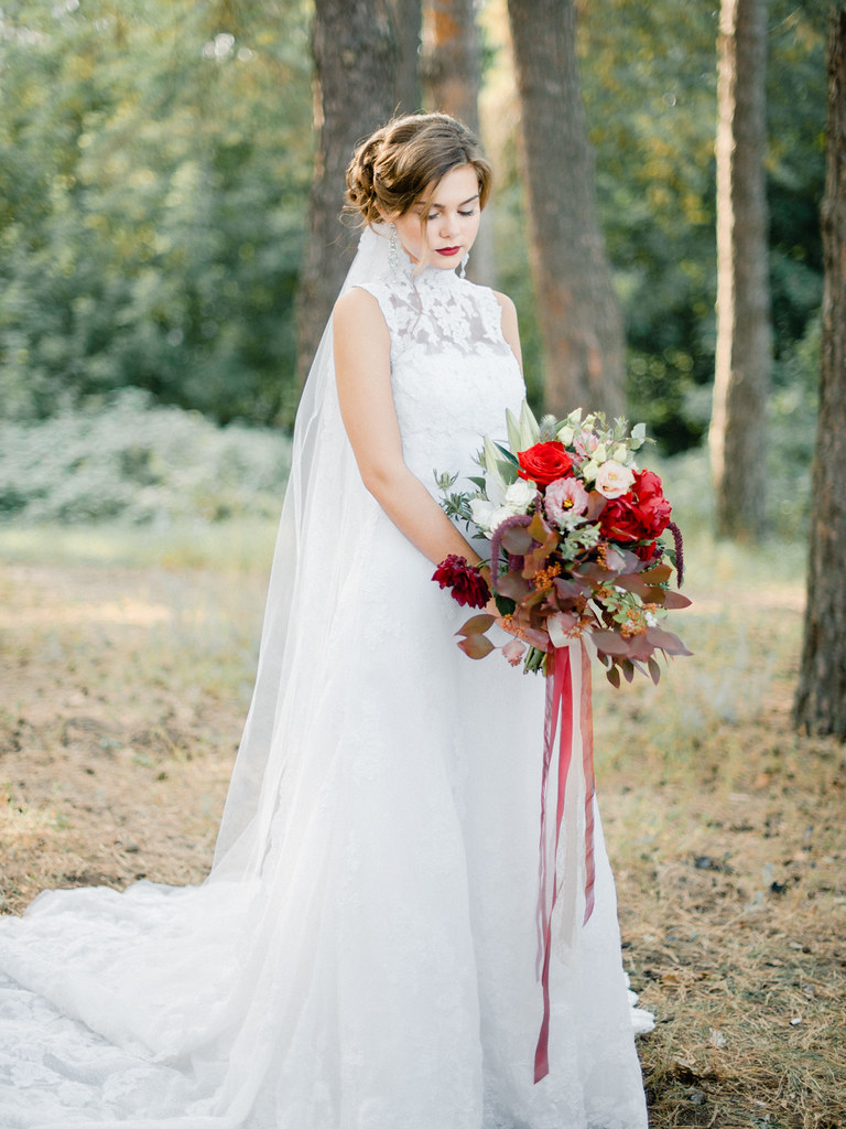 Enchanted Forest Marsala Wedding High Neck Dress