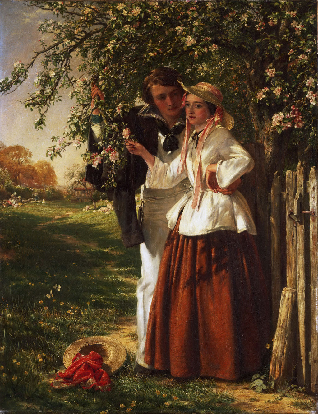 Lovers under a Blossom Tree by John Callcott Horsley (English, 1817 - 1903)
