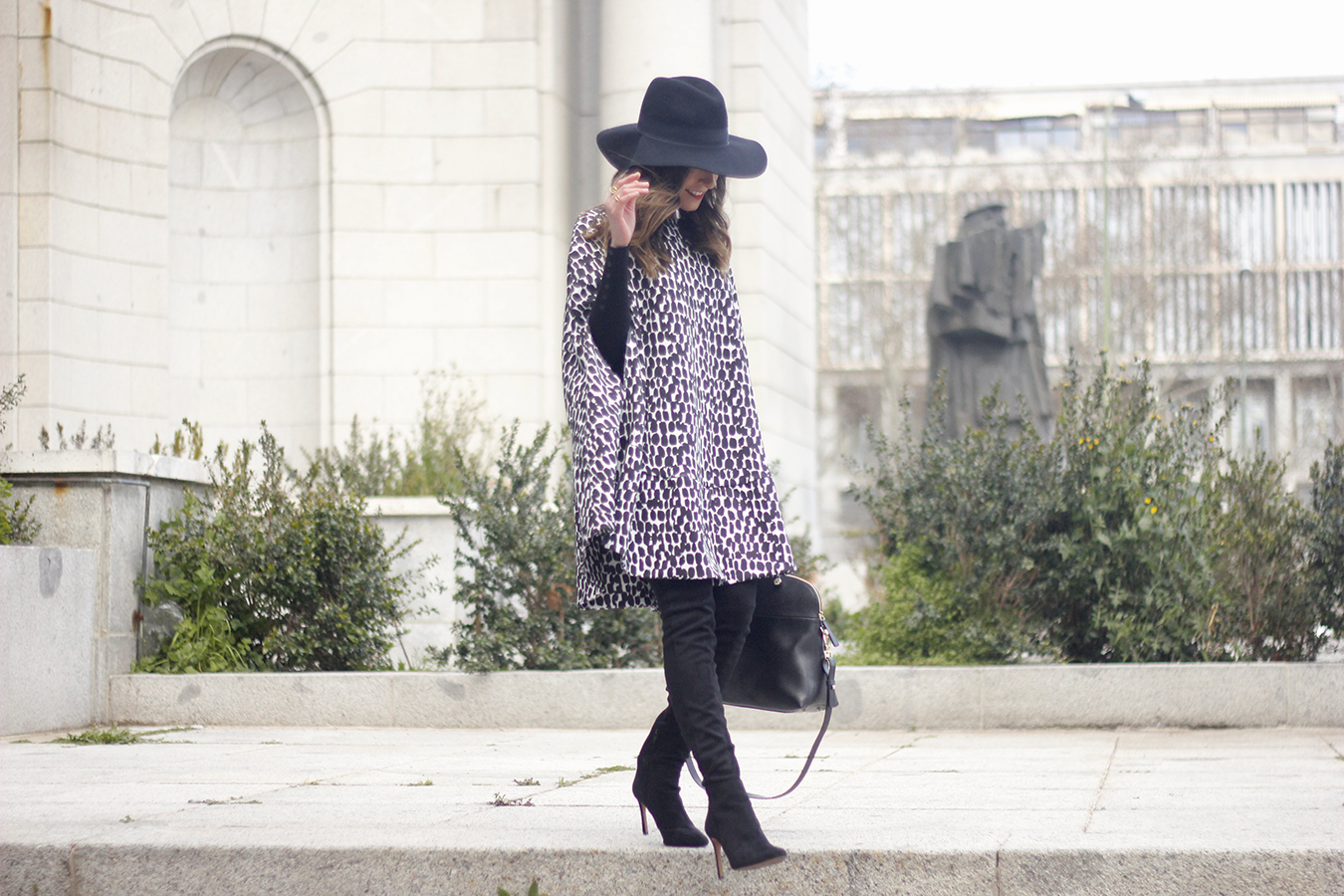 black and white outfit cape dress over the knee boots furla handbag style01