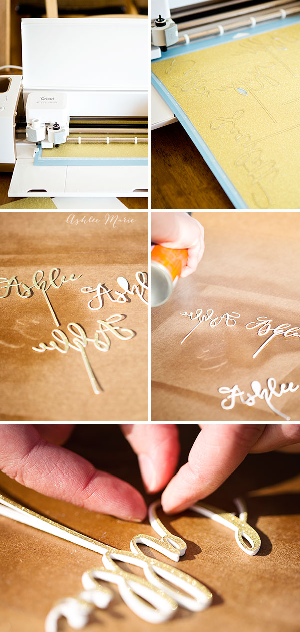 cut all the layers and then glue together with an adhesive spray - perfect for name toppers